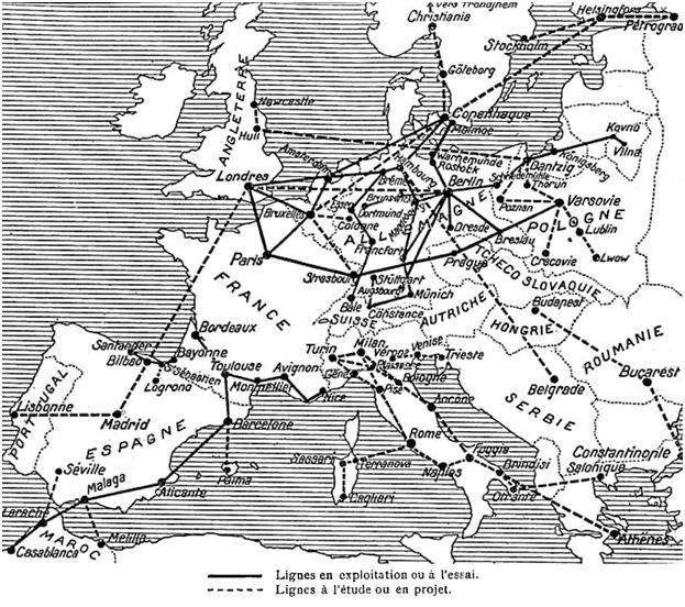 Réseaux des lignes aériennes en  Europe en 1921